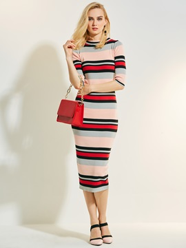 Chic Mid-Calf Color Block Stripe Women's Sweater Dress