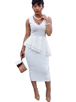 White Sleeveless Women's Bodycon Dress