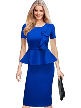 Dark Blue Short Sleeve Bodycon Dress