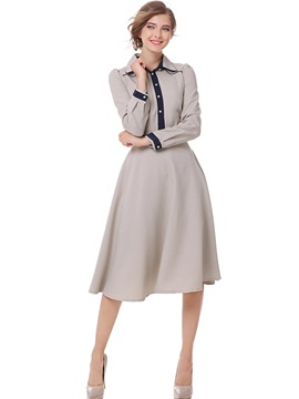 Long Sleeve Women's Knee Length Day Dress