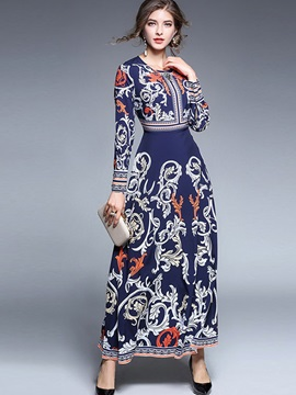 Unique Floral Imprint Long Sleeve Women's Maxi Dress