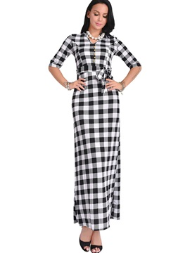 Plaid Round Neck Long Sleeve Women's  Dress