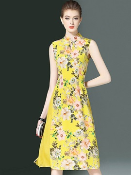 Floral Imprint Sleeveless Women's Knee Length Day Dress