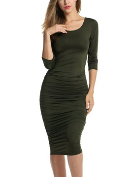 Solid Color Round Neck Women's Bodycon Dress