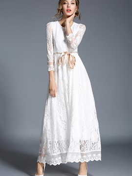 White 3/4 Sleeve Lace-Up Women's Lace Maxi Dress