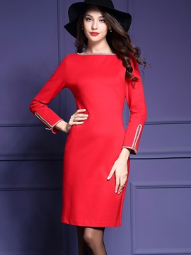 Best Round Neck Long Sleeve Women's Bodycon Dress