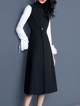 Vogue Color Block Ruffle Sleeve Women's Button Down Dress