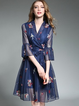 Floral Imprint V Neck Women's Short Day Dress