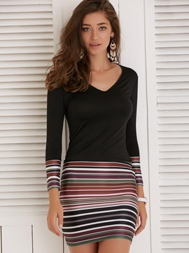 Striped Long Sleeves V Neck Women's Dress
