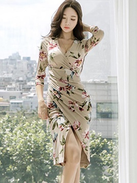 Vogue Floral Imprint Long Sleeve Bodycon Dress