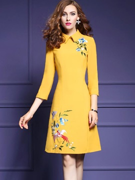 Peter Pan Collar 3/4 Sleeve Embroidery Women's Skater Dress