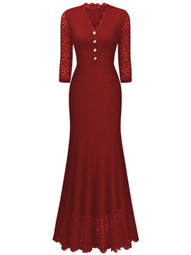 V-Neck Lace  3/4 Sleeve Button Women's Maxi Dress