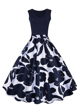 Chic Sleeveless Floral Imprint Women's Skater Dress
