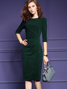 Solid Color Long Sleeve Slim Women's Bodycon Dress