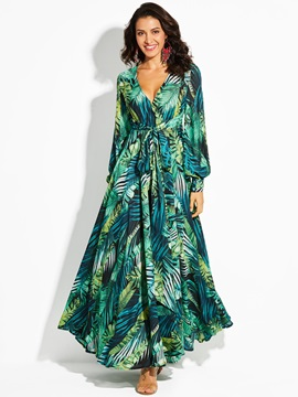 V-Neck Plant Print Lace-Up Women's Kimono Dress