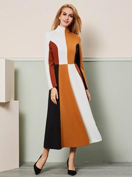 Hot Color Block Long Sleeve Women's Maxi Dress