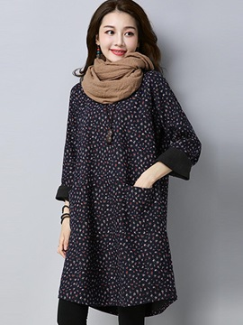 Floral Print Long Sleeve Brushed Pocket Women's Causal Day Dress