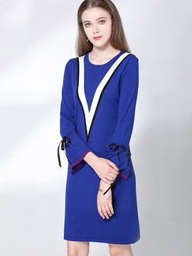 Patchwork Nine Points Sleeve Lace-Up Women's Day Dress