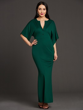 V-Neck Plain Half Sleeve Women's Maxi Dress(No Belt)