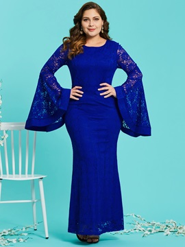 Flare Sleeve Mermaid Plus Size Women's Lace Maxi Dress
