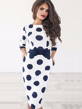 Tidebuy Half Sleeves Polka Dots Bow Women's Dress