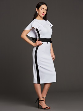 Color Block Batwing Sleeve Bowknot Women's Bodycon Dress