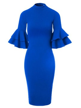 Stand Collar Ruffle Sleeve Women's Bodycon Dress