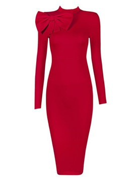 Stand Collar Bowknot Long Sleeve Women's Bodycon Dress