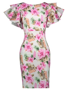 Floral Print Ruffle Sleeve Women's Bodycon Dress