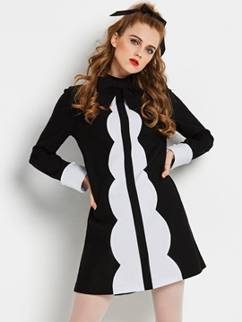 Bow Collar Patchwork Long Sleeve Women's Skater Dress