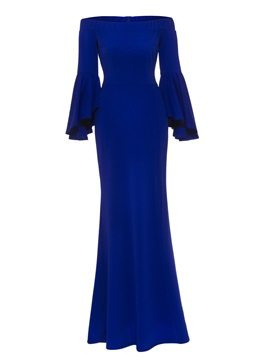Off Shoulder Flare Sleeve Women's Maxi Dress