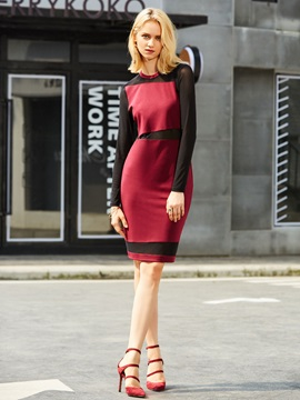 Round Neck Color Block Women's Bodycon Dress