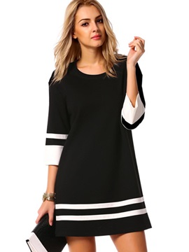 Tidebuy 3/4 Sleeves Stripe Patchwork Women's Skater Dress