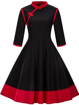 Mandarin Collar 3/4 Sleeve Women's Skater Dress