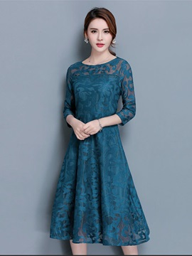 See-Through Patchwork 3/4 Sleeve Women's Lace Skater Dress