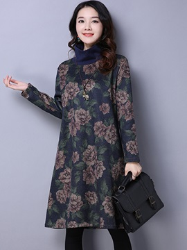 Turtleneck Long Sleeve Floral Print Women's Casual Dress