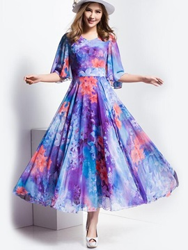 Ankle-Length High-Waist Floral Women's Dress