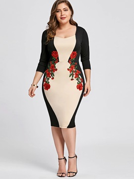 Color Block Embroidery Plus Size Women's Bodycon Dress