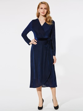 Long V Neck Belt Long Sleeves Women's Dress