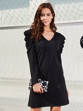 A-Line V-neck Long Sleeve Women's Causal Dress