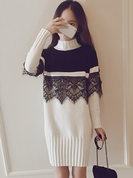 Tidebuy High Neck Lace Patchwork Women's Sweater Dress
