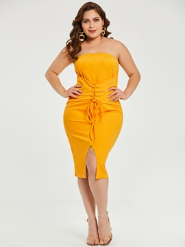 Knee-Length Strapless Plusee Women's Bodycon Dress