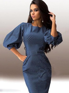 Tidebuy Polka Dots Half Lantern Sleeves Bodycon Women's Dress