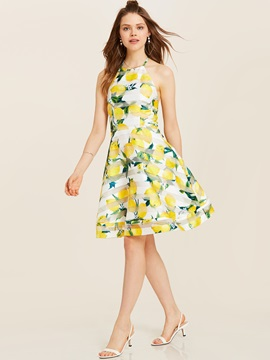 Tidebuy Sleeveless Backless Lemon Print Women's Dress