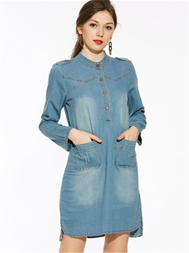 Above Knee Pocket A-Line Gradient Women's Denim Dress