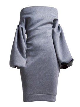 Knee-Length Slash Neck Long Sleeve Women's Bodycon Dress