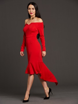 Floor-Length Nine Points Sleeve Women's Bodycon Dress