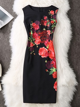 Above Knee Round Neck Floral Women's Bodycon Dress