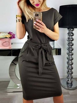 Boat Neck Short Sleeves Pullover Women's Bodycon Dress