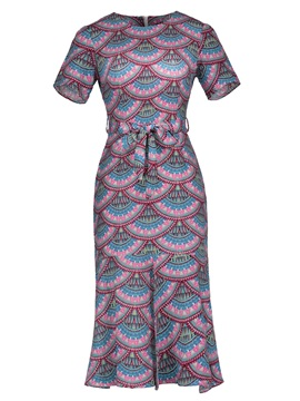 Mid-Calf Round Neck Lace-Up Women's Maxi Dress